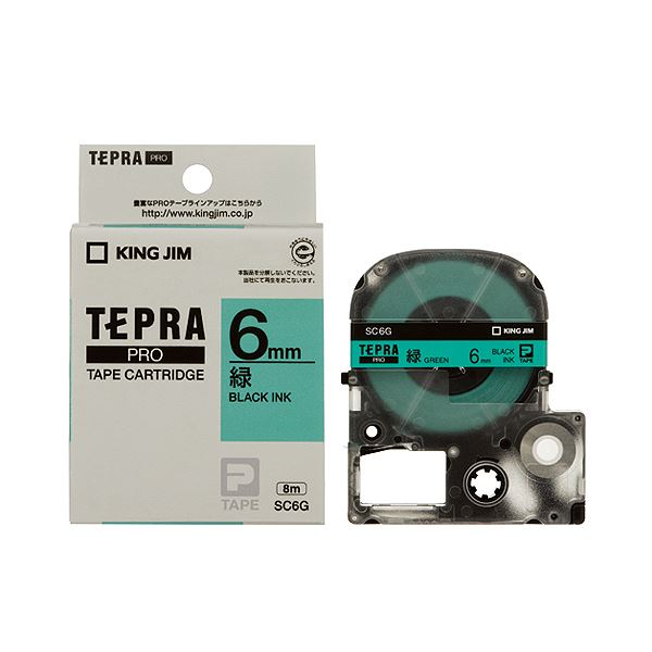 (まとめ) キングジム テプラ PRO テープカートリッジ パステル 6mm 緑/黒文字 SC6G 1個 【×10セット】 送料無料!