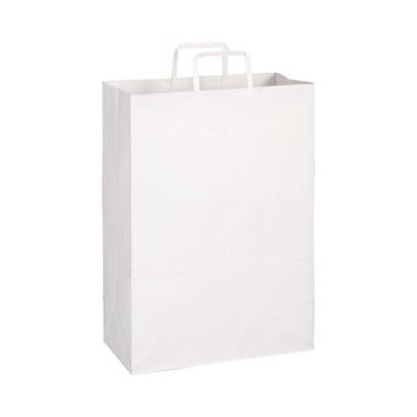 (まとめ)TANOSEE 紙手提袋 平紐 特大ヨコ340×タテ480×マチ幅170mm 白無地 1パック(50枚)【×10セット】 送料無料!
