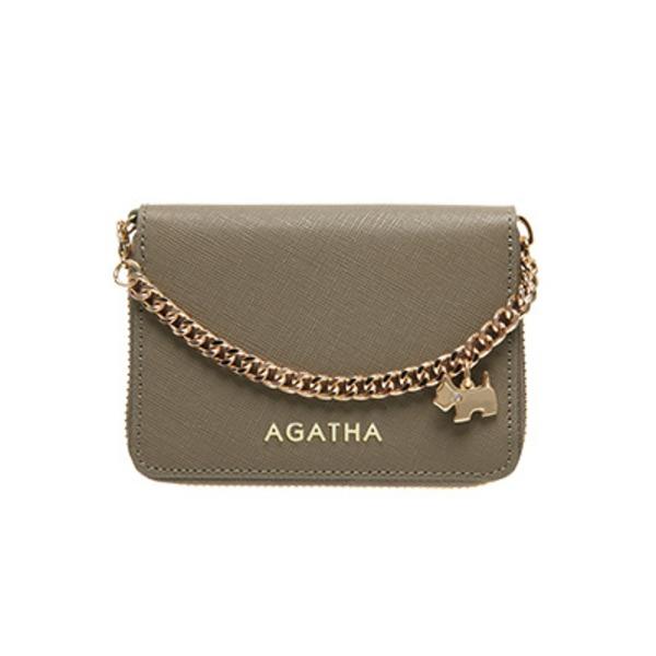 AGATHA(アガタ) AGT194-311 本革仕様 持ち手チェーン付ラウンドジップカードケース/モカベージュ 送料無料!