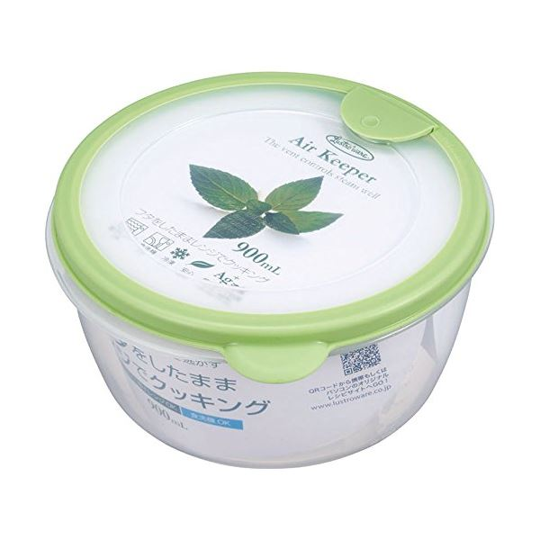 (まとめ) どんぶり型 保存容器 【ソフトグリーン】 900ml 抗菌効果 食洗機可 『エアキーパー』 【×60個セット】 送料込!