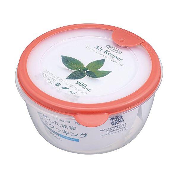(まとめ) どんぶり型 保存容器 【ソフトオレンジ】 900ml 抗菌効果 食洗機可 『エアキーパー』 【×60個セット】 送料込!