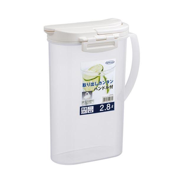 (まとめ) スリム 麦茶ポット/冷茶ポット 【2.8L】 大容量 耐熱 フェローズ・ハンディプッシュ ピッチャー 【×24個セット】 送料込!