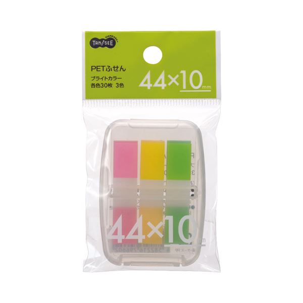(まとめ) TANOSEE PETふせん ケース付44×10mm ブライトカラー3色 1セット 【×100セット】 送料無料!