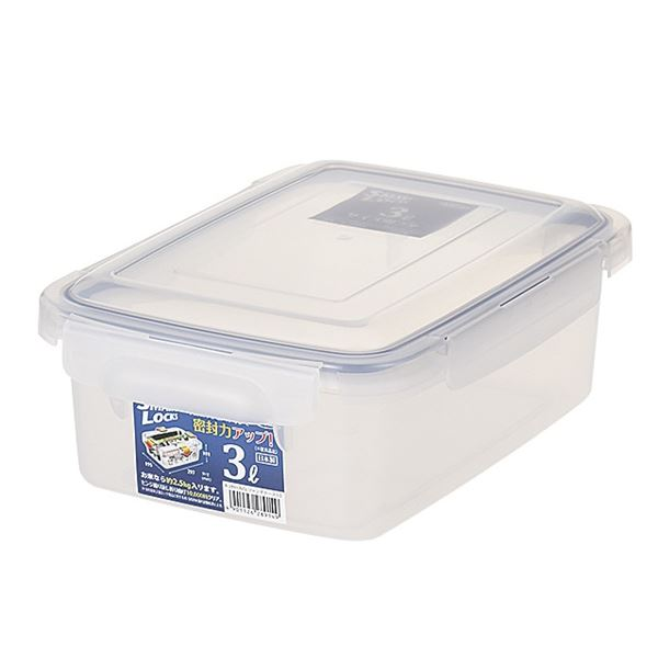 (まとめ) 保存容器/ロック式ジャンボケース 【3L】 銀イオン(AG+)配合 抗菌仕様 日本製 キッチン用品 【×24個セット】 送料込!