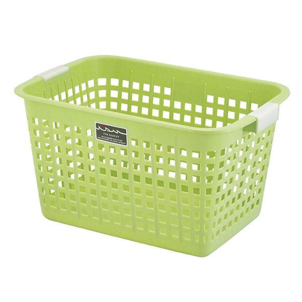 (まとめ) ニューキングバスケット/収納かご 【グリーン】 持ち手付き 洗濯かご おもちゃ収納 クローゼット収納 【16個セット】 送料込!