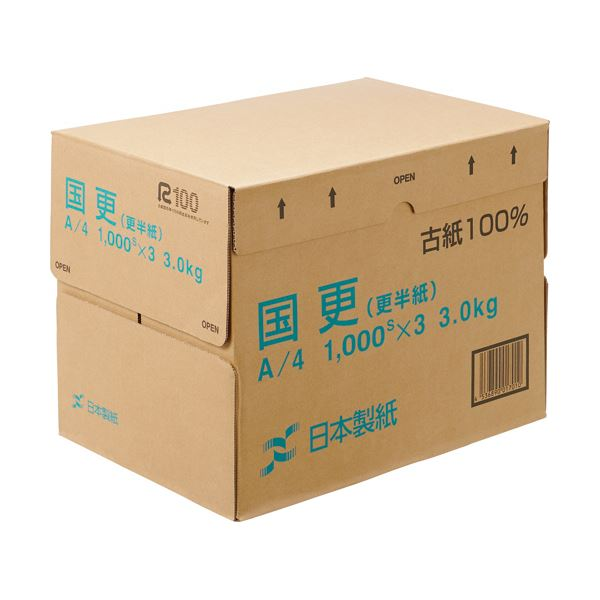 レトロな風合いのわら半紙 特価 まとめ 秀逸 日本製紙 国更 更紙 わら半紙 A4T目 KNZN-A4 3000枚:1000枚×3冊 送料無料 48.4g 1箱 ×5セット m2
