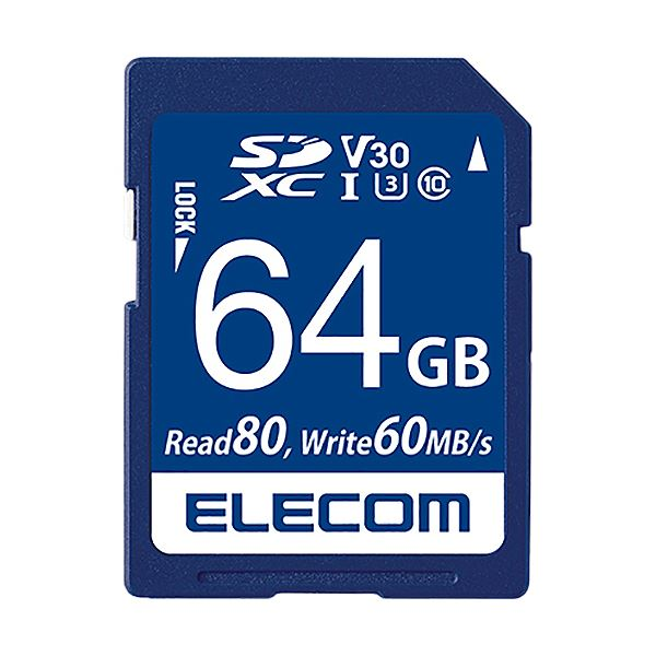 エレコム データ復旧SDXCカード(UHS-I U3 V30)64GB MF-FS064GU13V3R 1枚 送料無料!
