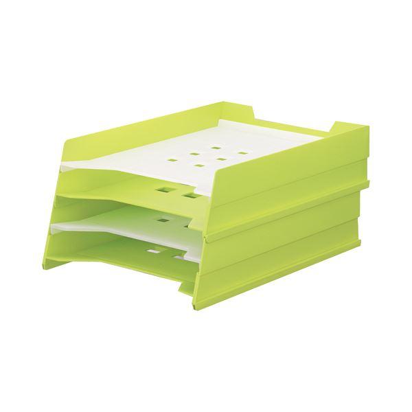 (まとめ) リヒトラブ マルチレタートレー A4タテ 黄緑 A-7300-6 1個 【×10セット】 送料無料!
