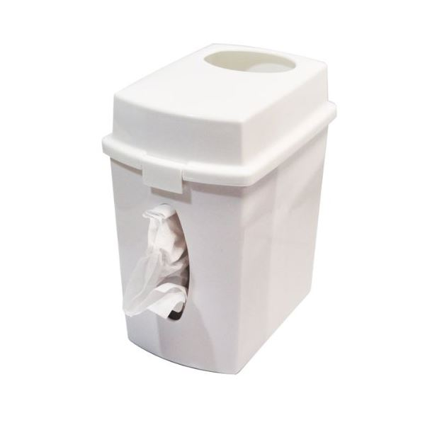 (まとめ) ティッシュケース&ゴミ箱 【ホワイト】 可動タイプ仕切り付き 『ユニフィ』 【30個セット】 送料込!
