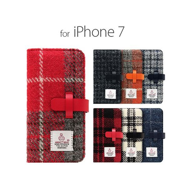 SLG Design iPhone 8/7 Harris Tweed Diary ブラック 送料無料!
