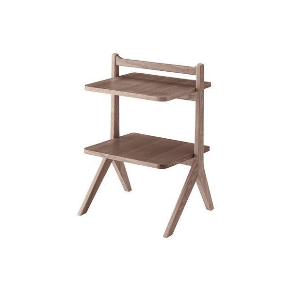サイドテーブル/ミニテーブル 【ブラウン】 幅45cm 木製 棚板2枚 〔リビング ダイニング ベッドルーム 寝室〕 送料込!