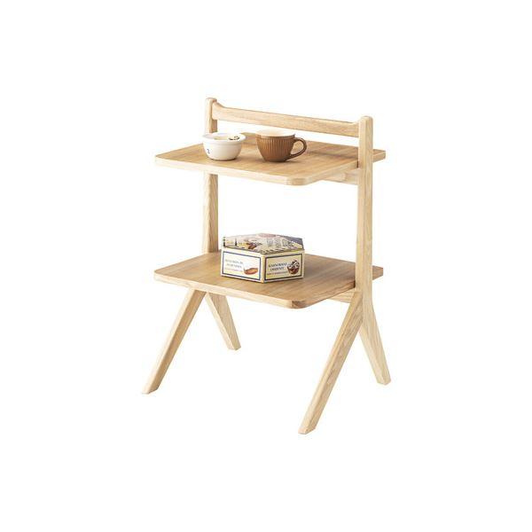 サイドテーブル/ミニテーブル 【ナチュラル】 幅45cm 木製 棚板2枚 〔リビング ダイニング ベッドルーム 寝室〕 送料込!
