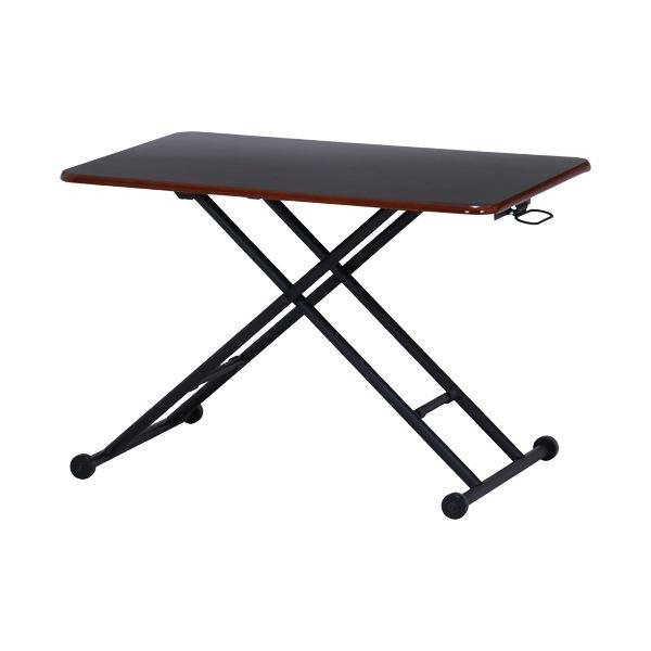 ガス昇降式テーブル サイドテーブル PU BR ブラウン 幅90cm スチール 送料込 大好評です 店舗 代引不可 ダイニング ギフト オフィス〕 〔リビング