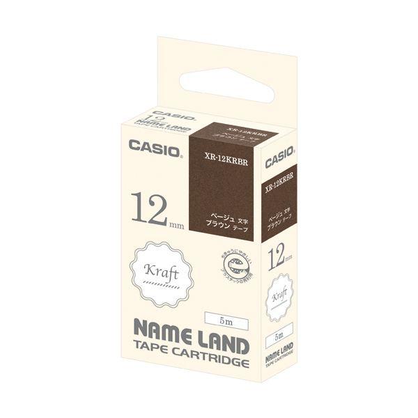(まとめ) カシオ NAME LANDクラフトテープ 12mm ブラウン/ベージュ文字 XR-12KRBR 1個 【×30セット】 送料無料!