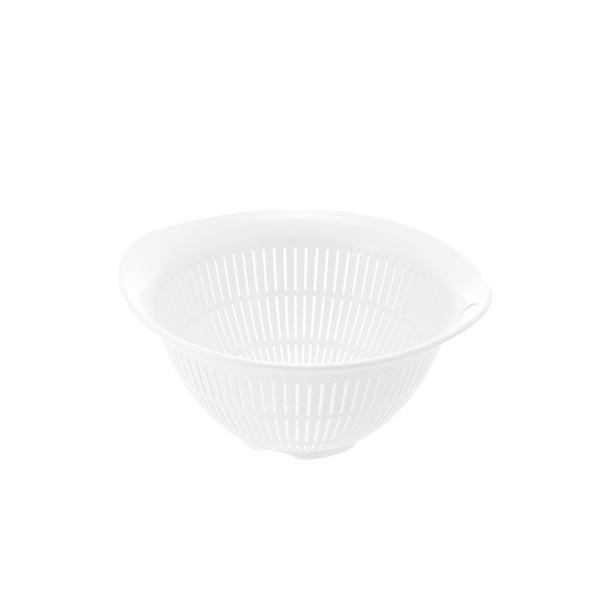 (まとめ) プラスチック製 ザル/キッチン用品 【ホワイト M】 銀イオン配合 食洗機対応 『シェリー』 【×80個セット】 送料込!