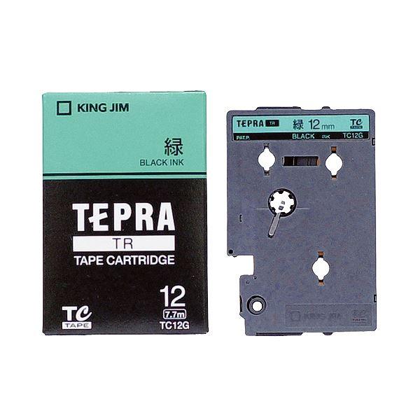 (まとめ) キングジム テプラ TR テープカートリッジ パステル 12mm 緑/黒文字 TC12G 1個 【×10セット】 送料無料!