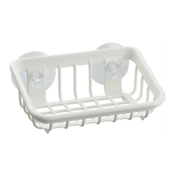 (まとめ) たわし入れ/スポンジラック 【S型】 抗菌加工 吸盤2個付き ホワイト キッチン用品 『Nポゼ』 【80個セット】 送料込!
