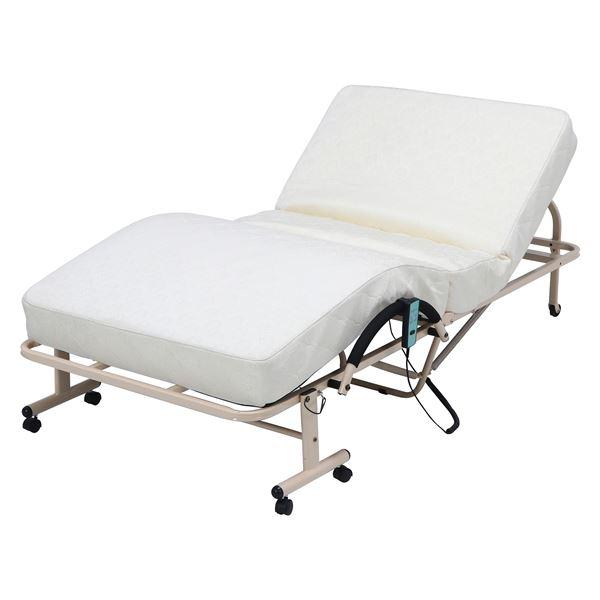折たたみ電動ベッド 高床タイプ ホワイト 幅104×奥行205×高さ48cm 毎週更新 組立品 代引不可 販売実績No.1 送料込