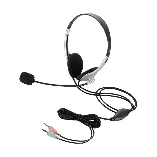 (まとめ) エレコムヘッドセット(両耳小型オーバーヘッドタイプ) 1.8m シルバー HS-HP22SV 1個 【×10セット】 送料無料!