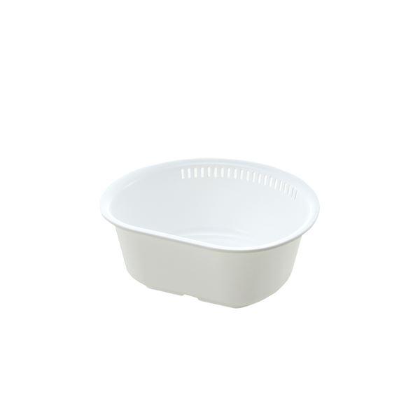 (まとめ) 洗い桶/ウォッシュタブ 【D型 L ホワイト】 抗菌加工付き キッチン用品 『シェリー』 【×50個セット】 送料込!