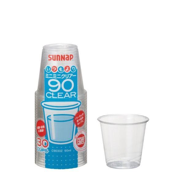 (まとめ) プラスチックカップ/使い捨て食器 【90ml 30個入り】 ミニサイズ 日本製 アウトドア パーティー 【×100個セット】 送料込!