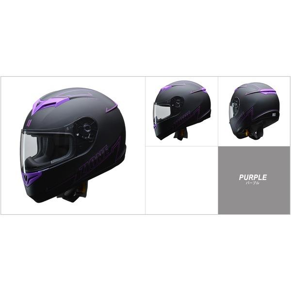人気のマットブラック ZIONE(ジオーネ) フルフェイスヘルメット パープル Lサイズ 送料無料!