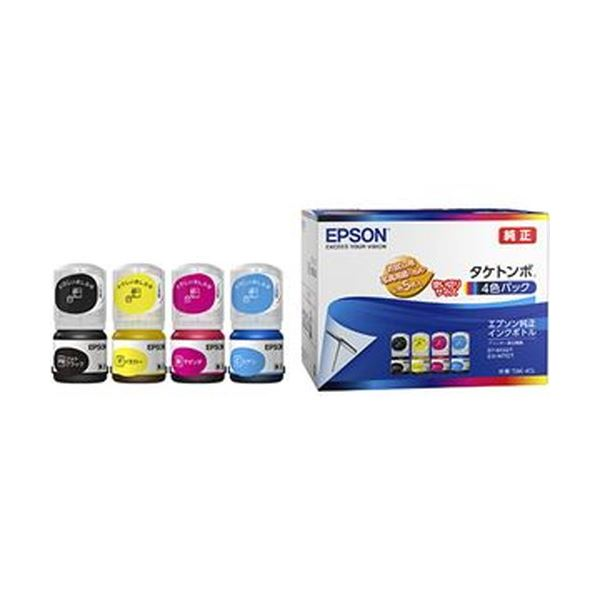 (まとめ)エプソン インクボトル タケトンボ4色パック TAK-4CL 1箱(4個:各色 1個)【×5セット】 送料無料!