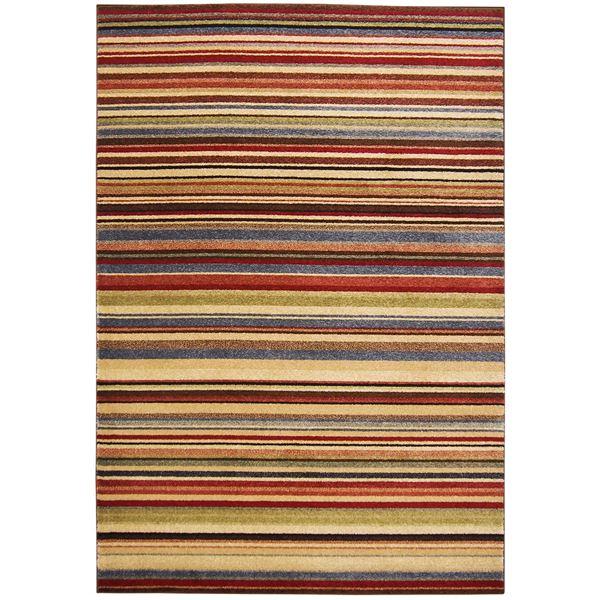 トルコ製 ラグマット/絨毯 【ストライプ柄 140cm×200cm】 長方形 ウィルトンラグ 『AURA オーラ』 〔リビング〕【代引不可】 送料込!