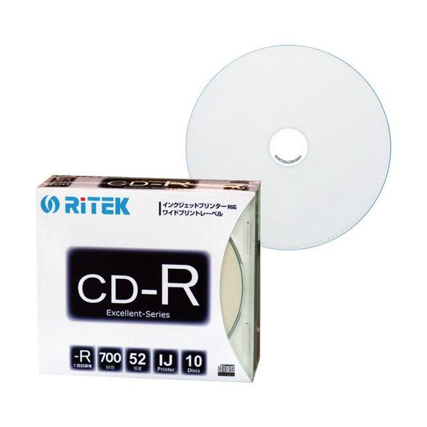 (まとめ) RITEK データ用CD-R 700MB1-52倍速 ホワイトワイドプリンタブル 5mmスリムケース CD-R700EXWP.10RT SC N1パック(10枚) 【×30セット】 送料無料!