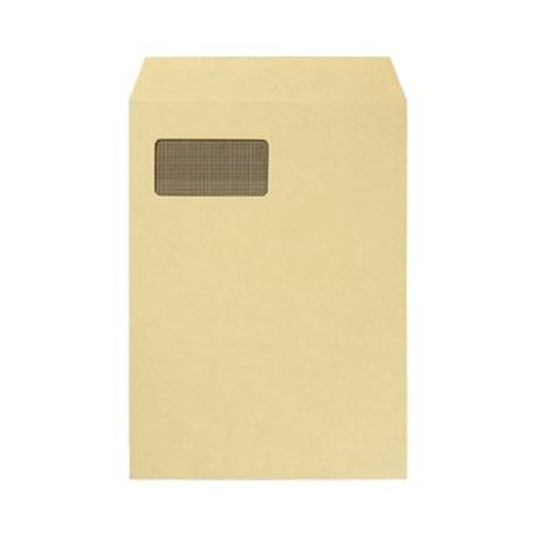 (まとめ)TANOSEE 窓付封筒 裏地紋付 A4テープのりなし 85g/m2 クラフト(窓:グラシン紙)1パック(100枚)【×5セット】 送料無料!