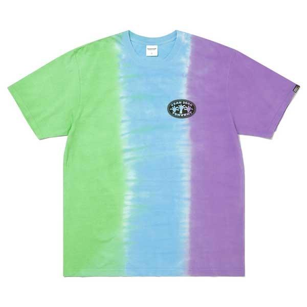 コットン生地を使用し着心地抜群の半袖Tシャツ thisisneverthat 驚きの価格が実現 ディスイズネバーザット TN21STS027 送料込 高級 グリーン×ブルー×パープル L バーティカルタイダイ半袖Tシャツ