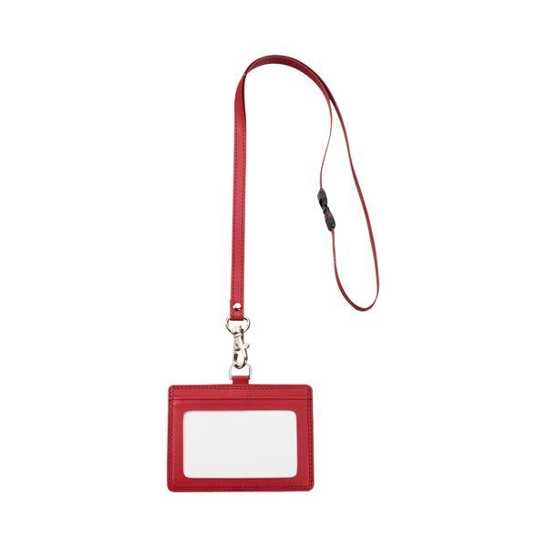 まとめTANOSEE 合皮製ネームカードホルダー ヨコ型 ストラップ付 ワインレッド 1個×30セット送料無料xrdBoWCe