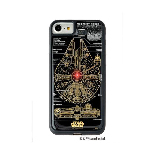 STAR WARS スター・ウォーズ グッズコレクション FLASH M-FALCON 基板アート iPhone 7/8ケース 黒 F7/8B 送料無料!