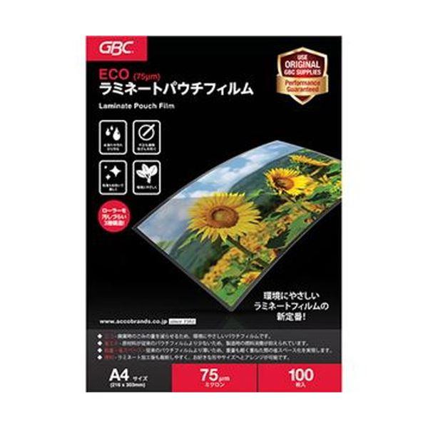 (まとめ)アコ・ブランズ ECOパウチフィルムA4 75μ YV075A4Z 1パック(100枚)【×10セット】 送料無料!