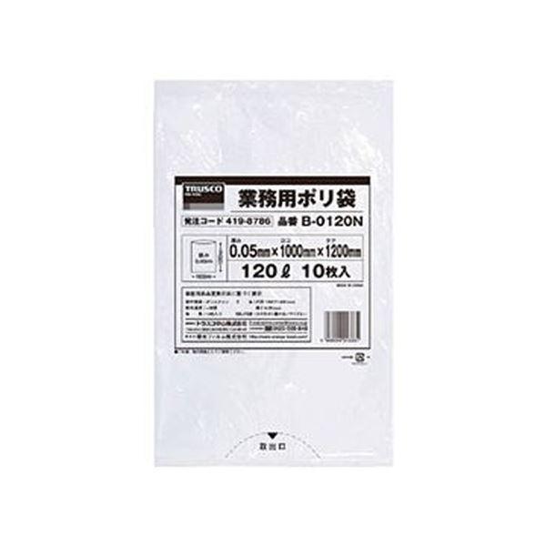 ��� SALE開催中 TRUSCO業務用�リ袋 0.05×120L 定番キャン�ス �明 B-0120N ×10セット 10枚 1パック �料無料