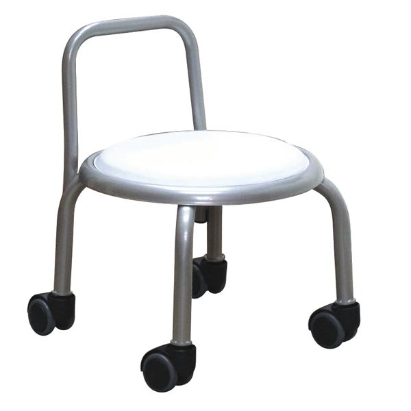 スタッキングチェア/丸椅子 【同色3脚セット ホワイト×シルバー】 幅32cm 日本製 『背付ローキャスターチェア ボン』【代引不可】 送料込!