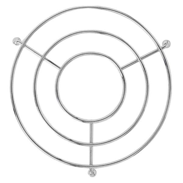 鍋敷き/キッチン用品 【サークル】 直径19.5×高さ3cm スチール製 脚付き クロームメッキ加工 【100個セット】 送料込!