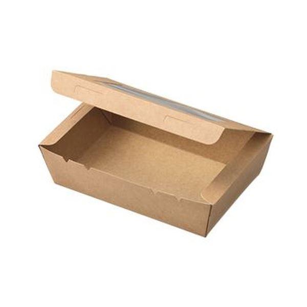 (まとめ)水野産業 窓付きランチボックス(S)クラフト 1パック(50枚)【×5セット】 送料無料!