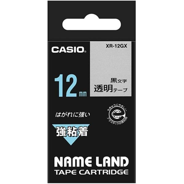 (まとめ) カシオ CASIO ネームランド NAME LAND 強粘着テープ 12mm×5.5m 透明/黒文字 XR-12GX 1個 【×10セット】 送料無料!