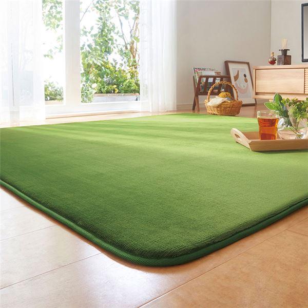 汚れにくく 肌ざわり暖か はっ水 ふわっふわラグ 撥水 ラグマット 絨毯 ふっくらタイプ ホットカーペット対応 約180×280cm 送料込 信頼 4畳 洗える グリーン 〔リビング〕 厚さ20mm おしゃれ