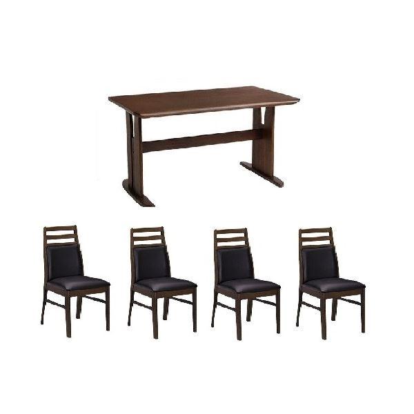 ダイニングセット テーブル チェア PVC 有名な 木製 5点セット 肘なしチェア×4脚セット ダークブラウン ブラッシング加工 ダイニングテーブル1台 送料込 安値 代引不可