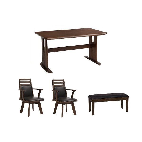ダイニングセット テーブル チェア ベンチ PVC 返品送料無料 木製 4点セット 送料込 回転チェア×2脚 ブラッシング加工 安値 ベンチ×1脚セット ダイニングテーブル1台 ダークブラウン 代引不可