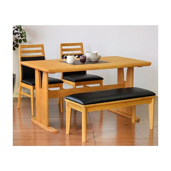 ダイニングセット テーブル チェア ベンチ PVC 木製 4点セット ダイニングテーブル1台 ベンチ×1脚セット 引き出物 ブラッシング加工 代引不可 ナチュラル 肘なしチェア×2脚 送料込 爆買い新作