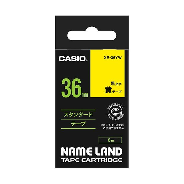 (まとめ) カシオ CASIO ネームランド NAME LAND スタンダードテープ 36mm×8m 黄/黒文字 XR-36YW 1個 【×5セット】 送料無料!