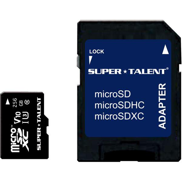 SUPERTALENT UHS-I microSDXCメモリーカード 256GB Class10SDXC変換アダプタ付 送料込!