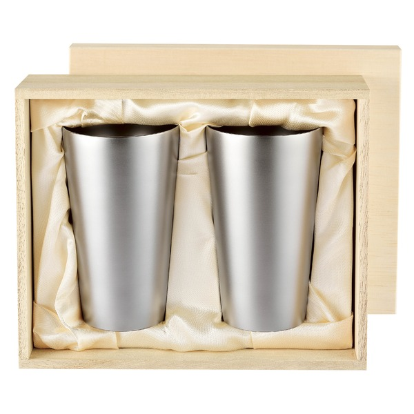 チタン製 タンブラー/ビアカップ 2PCS 日本製 2重カップ TW-6 『アサヒ』 〔カフェ バー〕 送料無料!