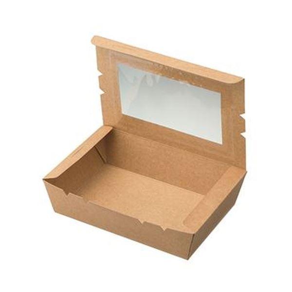 (まとめ)水野産業 窓付きランチボックス(M)クラフト 1パック(50枚)【×5セット】 送料無料!