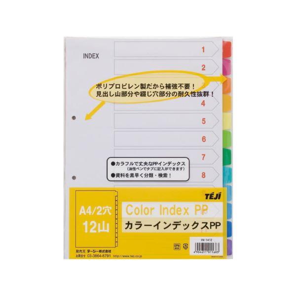 (まとめ)テージー カラーインデックスPP 2穴12山 5組 IN-1412【×30セット】 送料込!