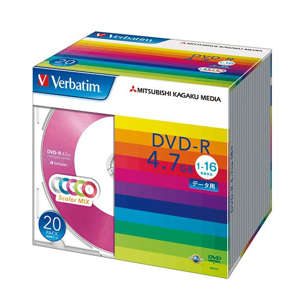 (まとめ) バーベイタム データ用DVD-R4.7GB 1-16倍速 5色カラーMIX 5mmスリムケース DHR47JM20V11パック(20枚:各色4枚) 【×10セット】 送料無料!