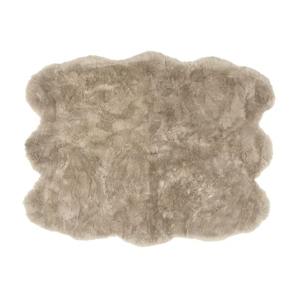 ニュージーランド産 天然ムートンの6匹 ラグマット 【約140×180cm ブラウン】 表面:羊毛皮100% 吸水性 放湿性 『M-511-F』【代引不可】 送料込!